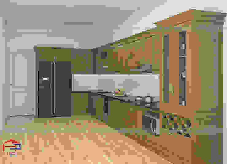 Hình ảnh thiết kế 3D bộ tủ bếp gỗ sồi mỹ kèm tủ rượu nhà chị Thập - Hải Phòng: hiện đại  by Nội thất Hpro, Hiện đại