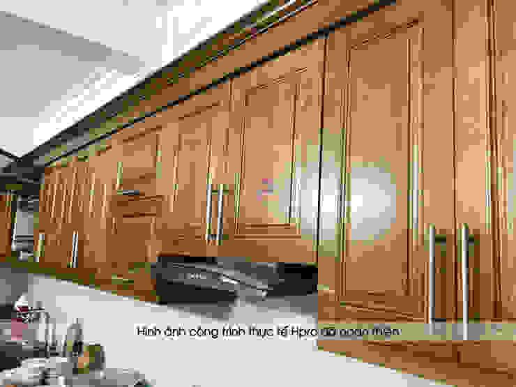 Hình ảnh thực tế bộ tủ bếp gỗ sồi mỹ tự nhiên hình chữ L nhà chị Thập - Hải Phòng: hiện đại  by Nội thất Hpro, Hiện đại