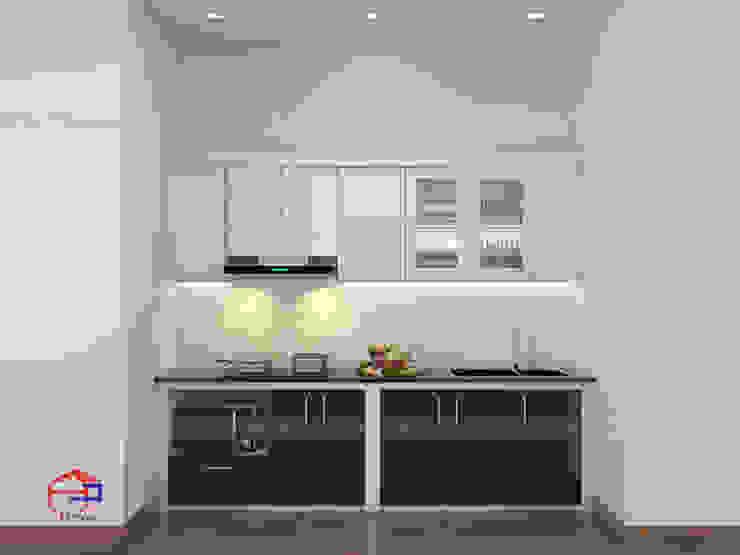 Hình ảnh thiết kế 3D bộ tủ bếp acrylic nhà chị Hướng - Vĩnh Phúc: hiện đại  by Nội thất Hpro, Hiện đại