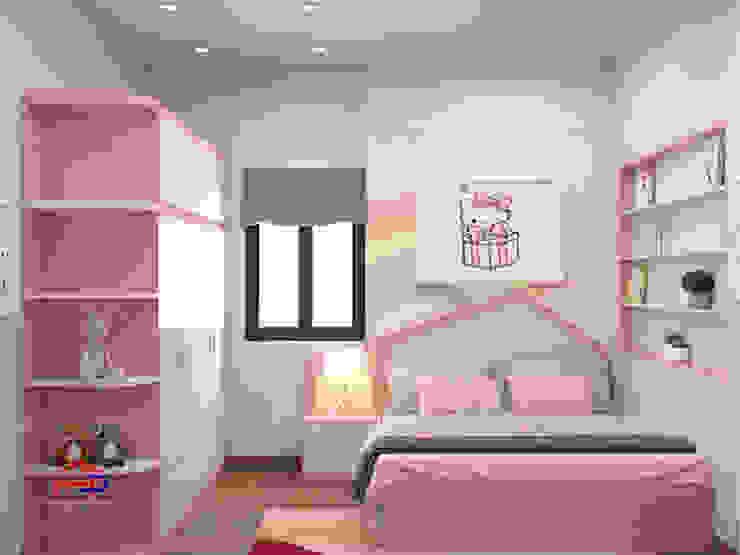 Hình ảnh 3D thiết kế phòng ngủ bé gái nhà chị Hướng - Vĩnh Phúc: hiện đại  by Nội thất Hpro, Hiện đại