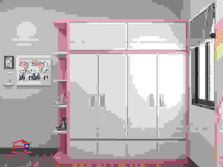 Hình ảnh thiết kế 3D không gian phòng ngủ bé gái nhà chị Hướng - Vĩnh Phúc: hiện đại  by Nội thất Hpro, Hiện đại