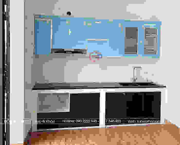 Hình ảnh thực tế bộ tủ bếp acrylic chữ I nhà chị Hướng - Vĩnh Phúc: hiện đại  by Nội thất Hpro, Hiện đại