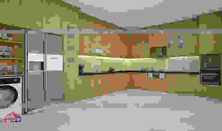 Hình ảnh thiết kế 3D bộ tủ bếp gỗ sồi nga nhà anh Nam - Hoàng Quốc Việt: hiện đại  by Nội thất Hpro, Hiện đại