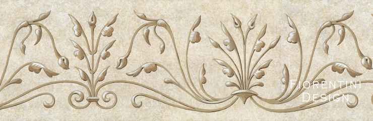 Renaissance Wallpaper Frieze Fiorentini Design กำแพง Beige