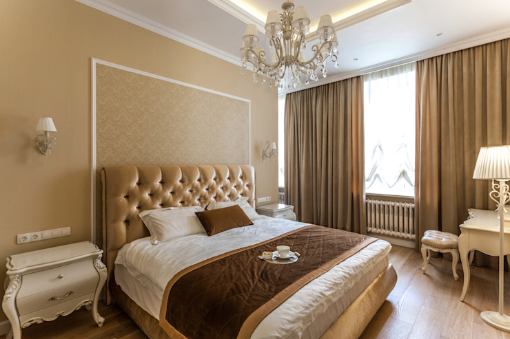 غرفة نوم تنفيذ Студия дизайна интерьера Татьяны Лазурной , كلاسيكي