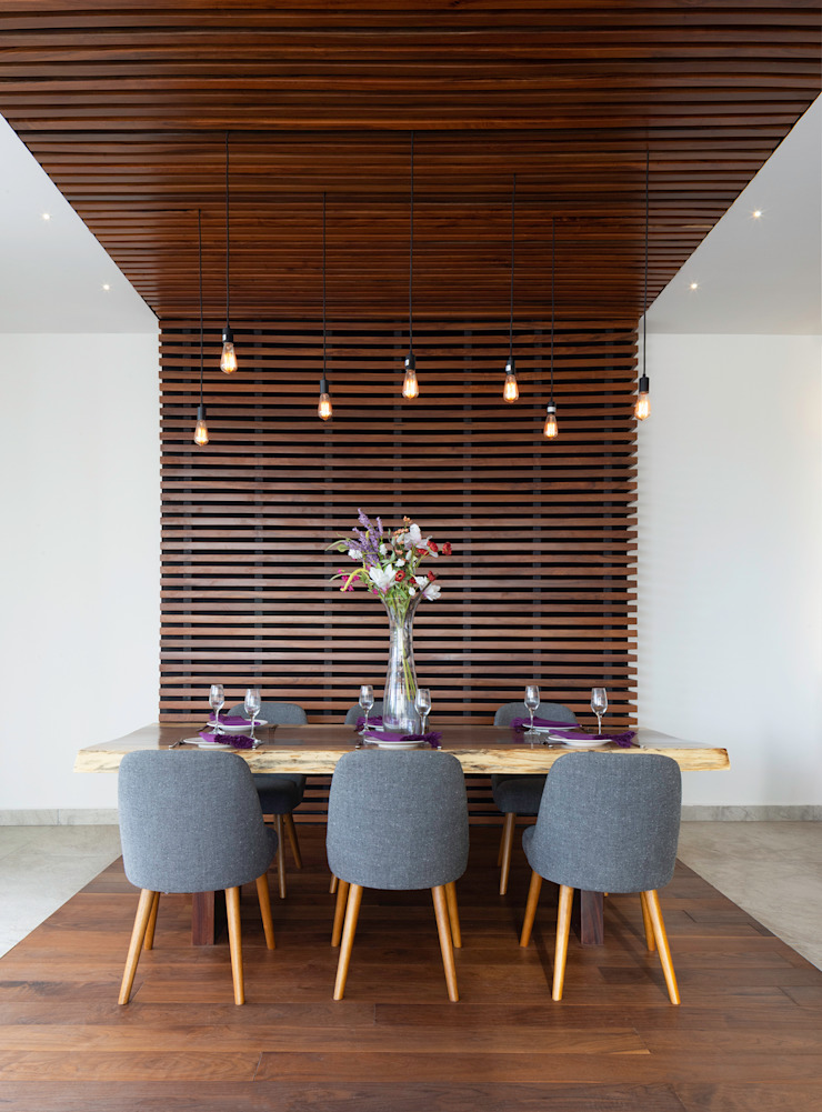 Daniel Cota Arquitectura   Despacho de arquitectos   Cancún Modern dining room Wood Wood effect