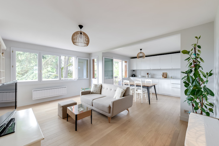 Salon et cuisine Salon scandinave par Créateurs d'Interieur Scandinave