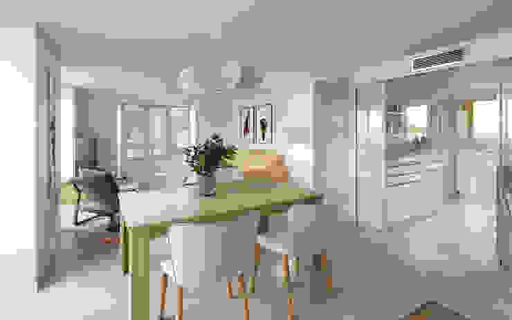 Vista 3d antes de proyecto. Cocina, comedor y salón. Comedores de estilo moderno de Bau Arquitectura Tarragona Moderno