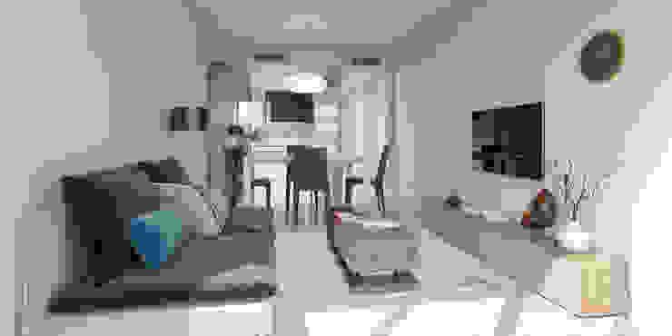 Vista 3d antes de proyecto. Cocina y salón. de Bau Arquitectura Tarragona Moderno
