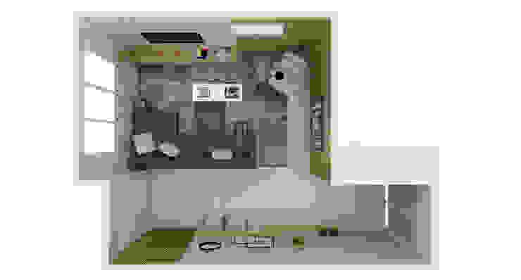 Planta Baixa Humanizada 3D Salas de estar modernas por Arquiteto Virtual - Projetos On lIne Moderno Madeira Efeito de madeira