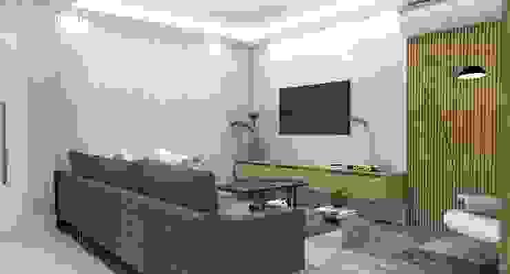 Sala de Estar - Painel TV Salas de estar modernas por Arquiteto Virtual - Projetos On lIne Moderno Madeira Efeito de madeira