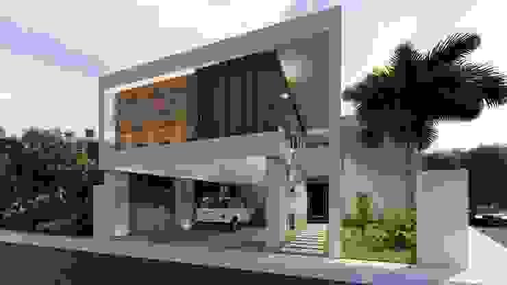 FACHADA PRINCIPAL - ANGULO DERECHO: Casas unifamiliares de estilo  por Basal Arquitectos,