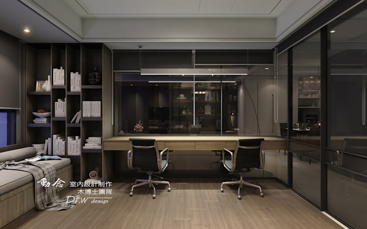 書房 Modern study/office by homify Modern Glass