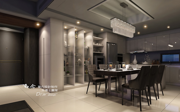 餐廳區設計 Modern dining room by homify Modern Glass