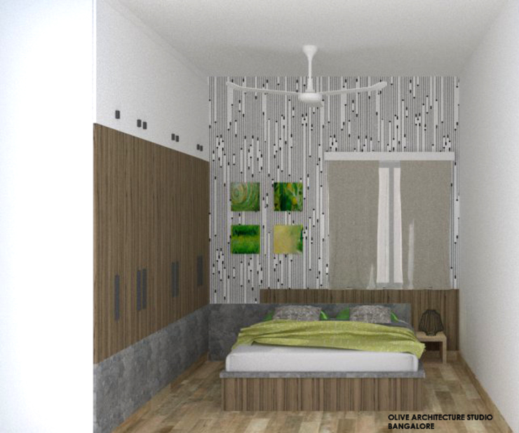 Guest Bedroom:  Small bedroom by Olive Architecture Studio,