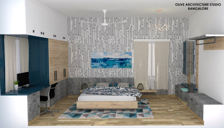 Master Bedroom:  Small bedroom by Olive Architecture Studio,