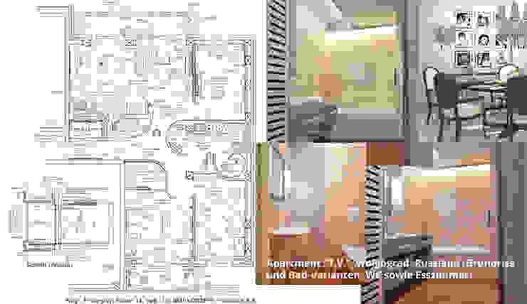 """Innenarchitektonische Neugestaltung Apartment """"T.V."""" - Wolgograd, Russland:  Badezimmer von GID│GOLDMANN-INTERIOR-DESIGN - Innenarchitekt in Sehnde,"""