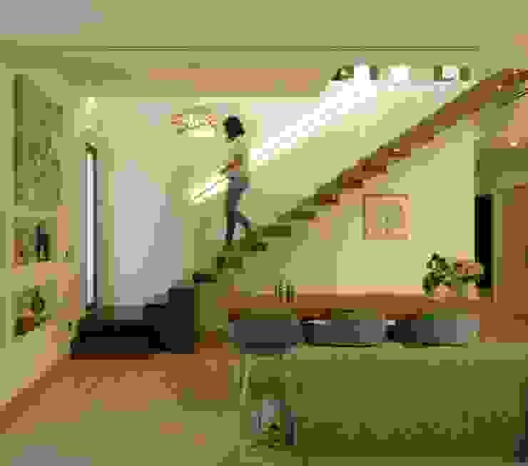 Escalera volada en estructura metálica y cajeada en madera de Gestionarq, arquitectos en Xàtiva Moderno Madera Acabado en madera