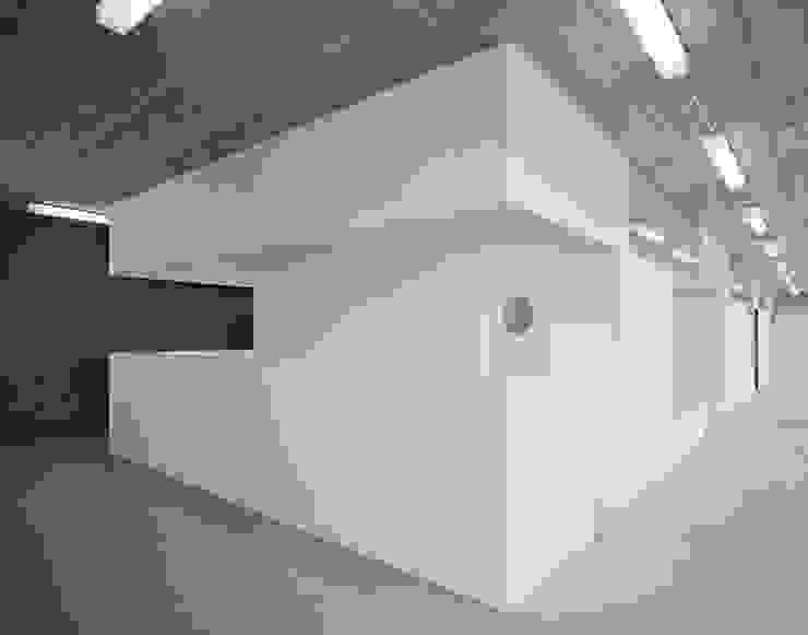 Empfangstheke im eingestellten Kubus integriert:  Praxen von AMUNT Architekten in Stuttgart und Aachen,