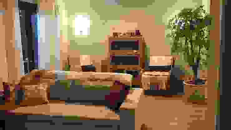 sala de estar e TV:   por Ana Laura Wolcov - ARTE WOLCOV ,Eclético Fibra natural Bege