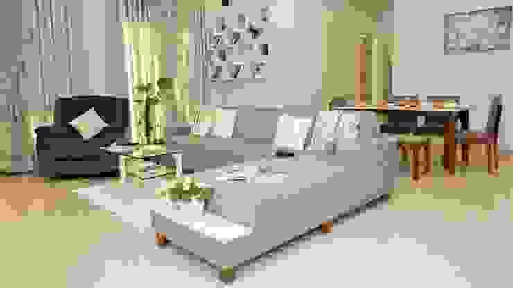 Raheja Vistas, NIBM road, 3BHK Minimalist living room by DESIGN EVOLUTION LAB Minimalist