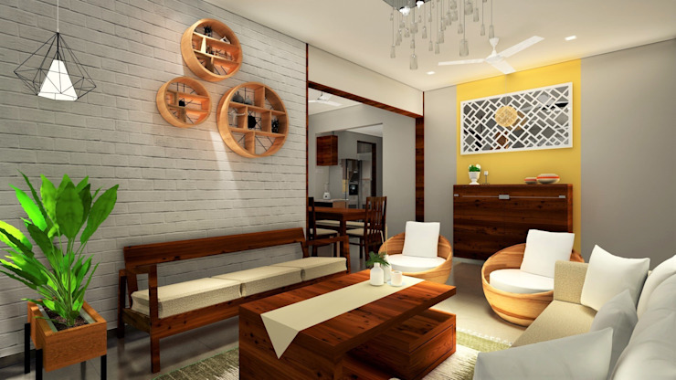 3BHK, Nyati Ambiance, Undri, Modern living room by Design Evolution Lab Modern