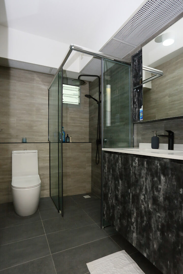 Common bathroom Monoloft Minimalist style bathroom Black