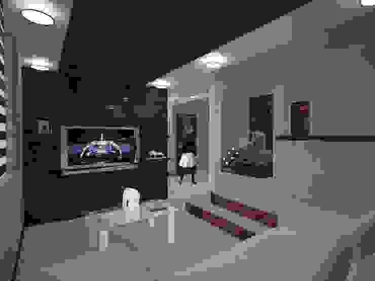 现代客厅設計點子、靈感 & 圖片 根據 MSG Architecture SA DE CV 現代風 石器