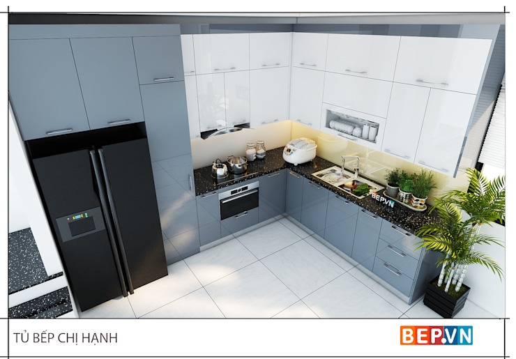 Tủ bếp Acrylic chữ L gia đình chị Hạnh: tối giản  by bep-vn-406-Xa-dan-02462627762, Tối giản