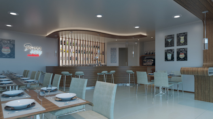 Mobiliario interior 3D Bares y clubs de estilo moderno de VURPURA INSTALACIONES COMERCIALES Moderno