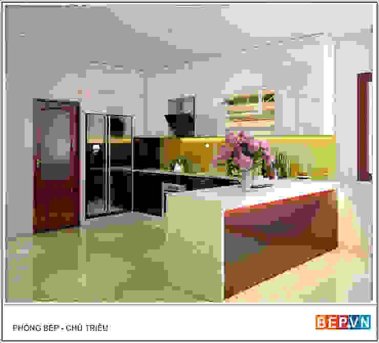 Tủ bếp Acrylic chữ U gia đình chú Triều: hiện đại  by bep-vn-406-Xa-dan-02462627762, Hiện đại