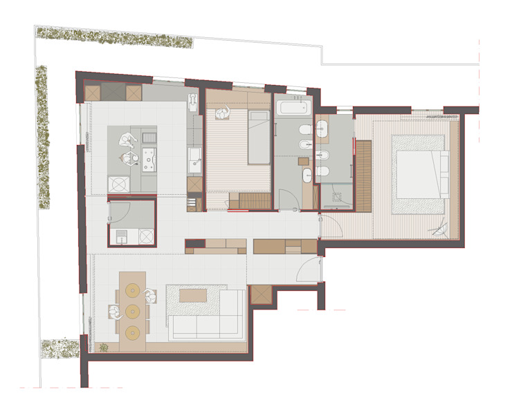 pianta appartamento arredato:  in stile  di ALESSIO LO BELLO ARCHITETTO a Palermo,