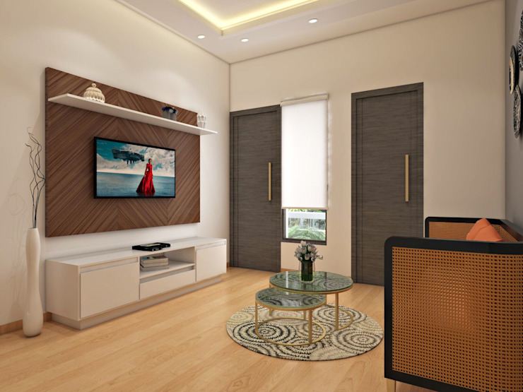 4 BHK Independent House :  Multimedia room by The Cobblestone Studio,