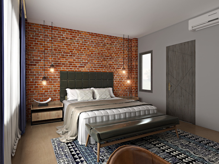 4 BHK Independent House :  Bedroom by The Cobblestone Studio,