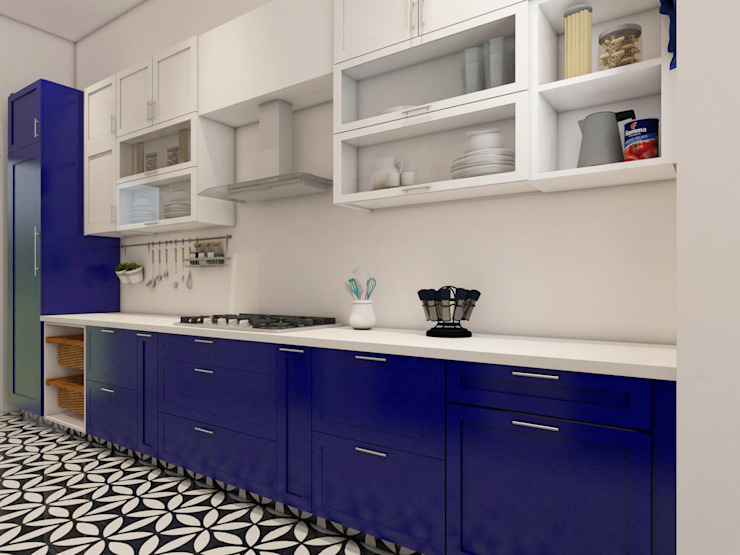 4 BHK Independent House :  Kitchen by The Cobblestone Studio,