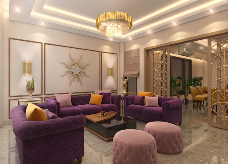 4 BHK Independent House :  Living room by The Cobblestone Studio,