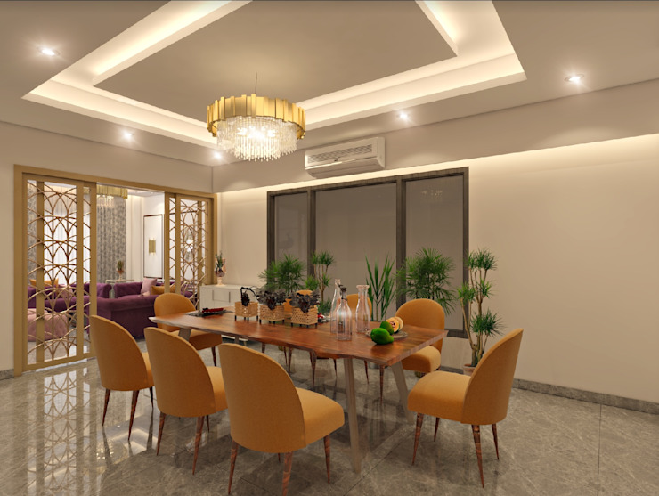 4 BHK Independent House :  Dining room by The Cobblestone Studio,