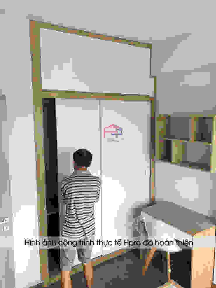 Hình ảnh thực tế không gian nội thất gỗ melamine trong phòng ngủ của bé nhà anh Nam - Ecopark: hiện đại  by Nội thất Hpro, Hiện đại