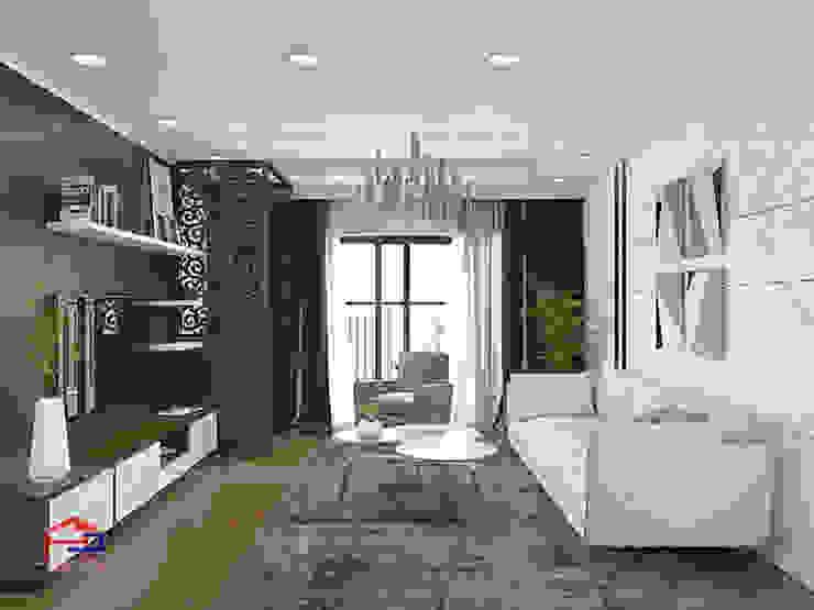 Hình ảnh thiết kế 3D không gian phòng khách nhà chị Thắng - Goldmark City: hiện đại  by Nội thất Hpro, Hiện đại