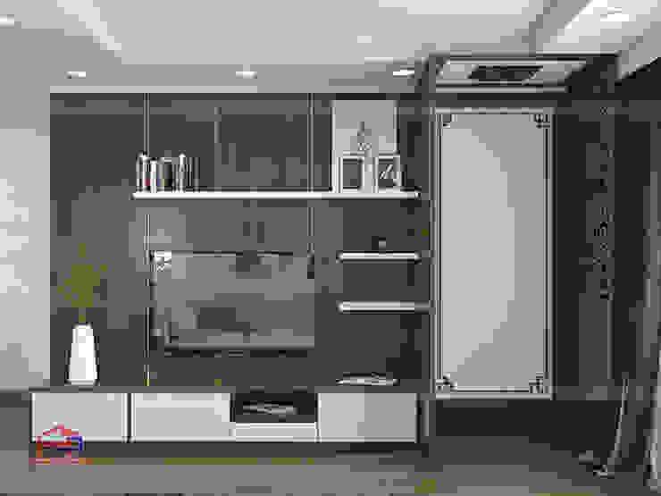 Ý tưởng thiết kế 3D không gian phòng khách nhà chị Thắng - Goldmark City: hiện đại  by Nội thất Hpro, Hiện đại