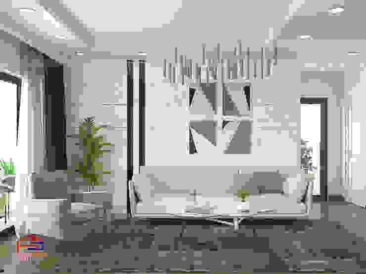 Ảnh thiết kế 3D không gian phòng khách nhà chị Thắng - Goldmark City: hiện đại  by Nội thất Hpro, Hiện đại