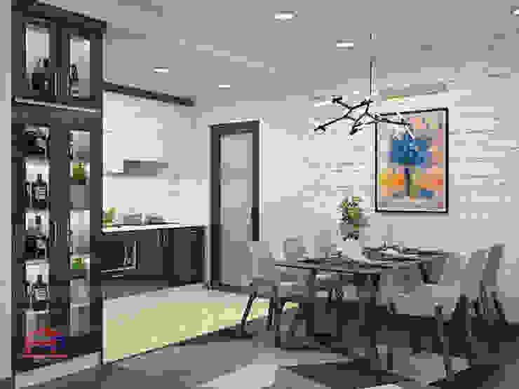 Hình ảnh thiết kế 3D không gian bếp nhà chị Thắng - Goldmark City: hiện đại  by Nội thất Hpro, Hiện đại