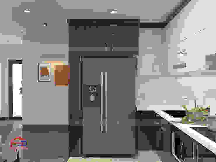 Hình ảnh thiết kế 3D mẫu tủ bếp acrylic chữ L nhà chị Thắng - Goldmark City: hiện đại  by Nội thất Hpro, Hiện đại