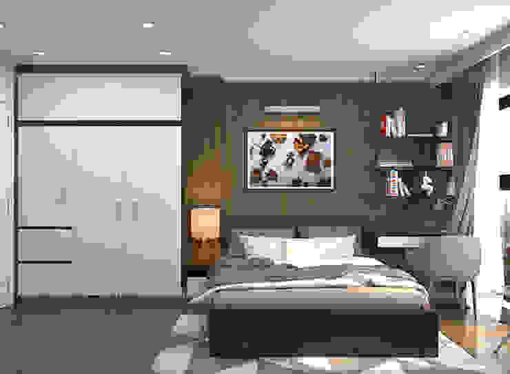 Hình ảnh thiết kế 3D phòng ngủ master nhà chị Thắng - Goldmark City: hiện đại  by Nội thất Hpro, Hiện đại