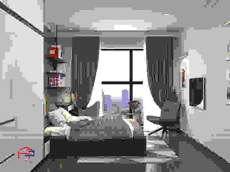 Ý tưởng thiết kế 3D không gian phòng ngủ master nhà chị Thắng - Goldmark City: hiện đại  by Nội thất Hpro, Hiện đại
