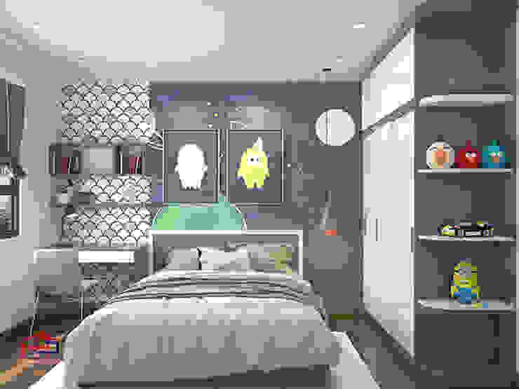 Hình ảnh thiết kế 3D phòng ngủ bé trai nhà chị Thắng - Goldmark City: hiện đại  by Nội thất Hpro, Hiện đại