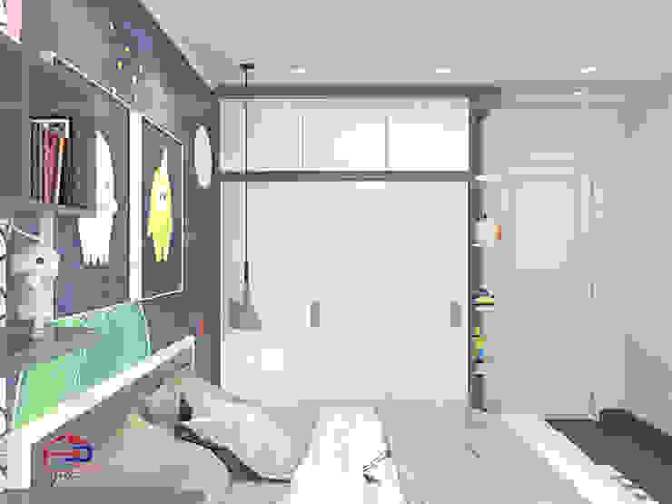 Ảnh thiết kế 3D không gian phòng ngủ bé trai nhà chị Thắng - Goldmark City: hiện đại  by Nội thất Hpro, Hiện đại