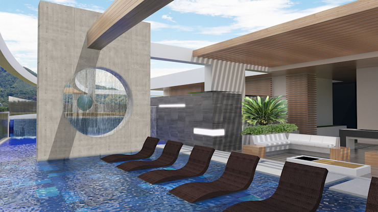 TERRAZA Albercas modernas de Diseños y construcciones Dyco Moderno