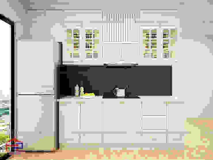 Hình ảnh thiết kế 3D bộ tủ bếp tân cổ điển nhà chị Hoa - Kim Giang: scandinavian  by Nội thất Hpro, Bắc Âu