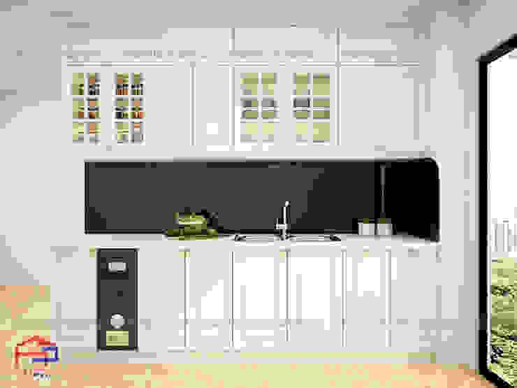Hình ảnh thiết kế 3D bộ tủ bếp MDF lõi xanh sơn trắng nhà chị Hoa - Kim Giang: scandinavian  by Nội thất Hpro, Bắc Âu